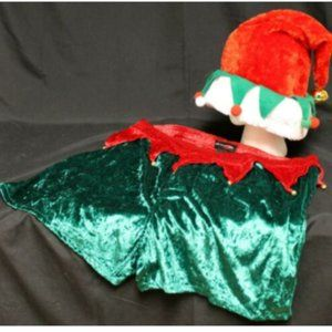 Intimo Mens Green Red Large Velour Elf Bells Costu